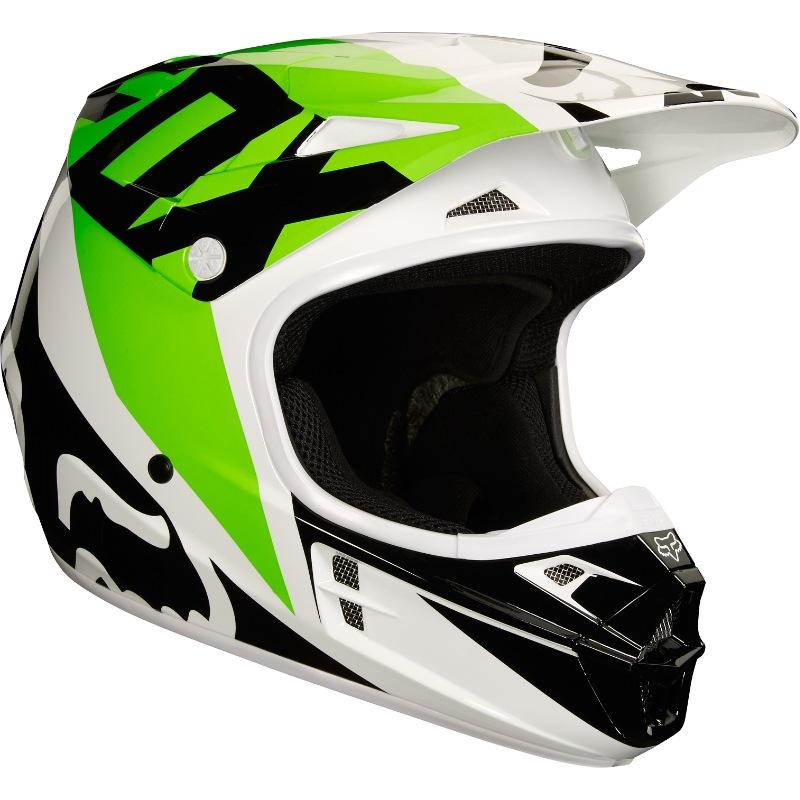 53493eaaf51 Fox V1 Race MX18 Helmet (white black green)